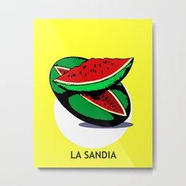 La Sandia Mexican Loteria Card Metal Print