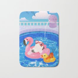 Cory cats in the swimming pool 2 Bath Mat