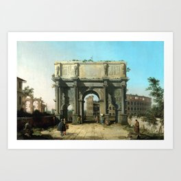 Canaletto Italian View of the Arch of Constantine with the Colosseum Art Print