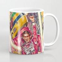 senna Mugs featuring Ayrton Senna do Brasil by Renato Cunha