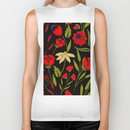 Floral embroidery Biker Tank