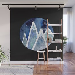 Sleeping on Top of the World with black background Wall Mural