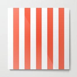 Orange soda pink - solid color - white vertical lines pattern Metal Print