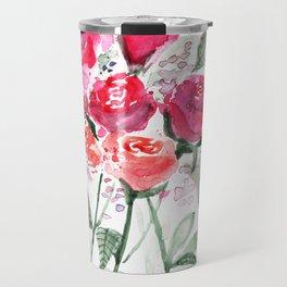 Abstract Watercolor Red Roses Travel Mug