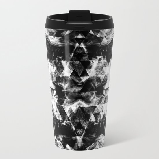 Electrifying black and white sparkly triangle flames Metal Travel Mug