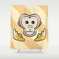 monkey Shower Curtains featuring Monkey by Nir P