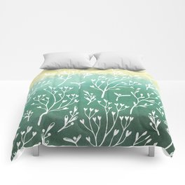 Spring Pattern Green Yellow w White Sprigs Comforters