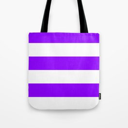Wide Horizontal Stripes - White and Violet Tote Bag