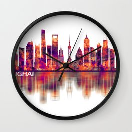 Shanghai China Skyline Wall Clock