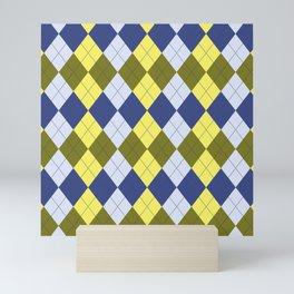 Navy Blue Canary Yellow Olive Green Argyle Mini Art Print