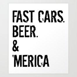 FUNNY MUSCLE CAR AMERICA Tuning Gift Classic Car Art Print