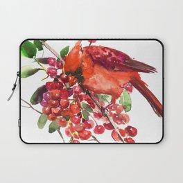 Cardinal Bird and Berries, red green Christmas colors artwork design Cardinal lover Laptop Sleeve