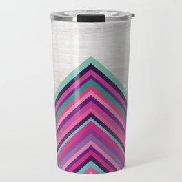 Wood and Bright Stripes, Chevron - Geometric Design Travel Mug