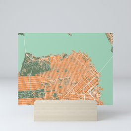 San Francisco city map orange Mini Art Print