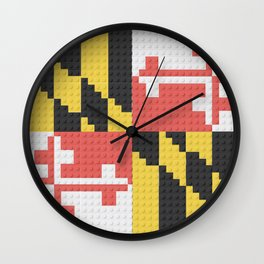 Maryland State Flag Building Block Design Wall Clock
