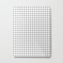 Small Diamonds - White and Silver Gray Metal Print
