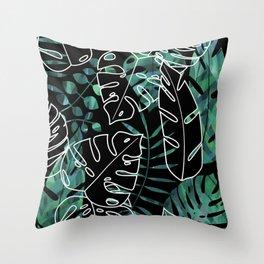 Dark tropical leaves pattern Throw Pillow