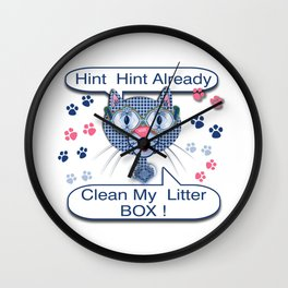 Kitty, Kitty in a Blue Shoe Collection Wall Clock