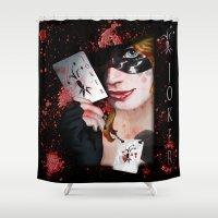 harley quinn Shower Curtains featuring Harley Quinn by LARiozzi