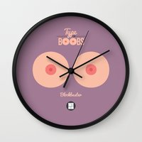 boobs Wall Clocks featuring Type of boobs by VineDesign