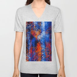 psychedelic geometric polygon shape pattern abstract in blue red orange Unisex V-Neck