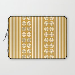 Geometric Golden Yellow & White Vertical Stripes & Circles Laptop Sleeve