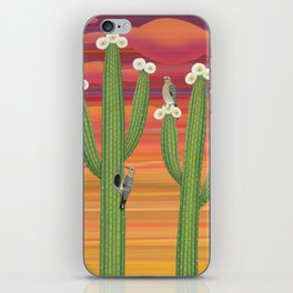 gila woodpeckers on saguaro cactus iPhone Skin