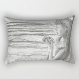 A Cool, Quieting Thought (Girl by tree on the beach) Rectangular Pillow