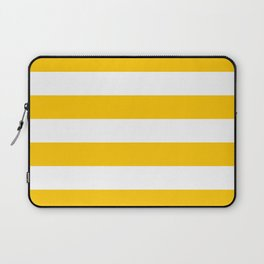 Aspen Gold Yellow and White Wide Horizontal Cabana Tent Stripe Laptop Sleeve