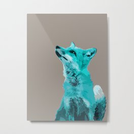 FOX, BLUE FOX, FOX, BLUE FOX, FOX FACE, FOX IN BLUE, WINTER FOX, LITTLE FOX, FOX IN SNOW Metal Print