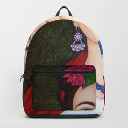 Frida portrait with dalias Backpack