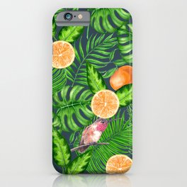 Tropical pattern, hummingbirds  iPhone Case