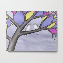 northern mockingbirds in the stained glass tree Metal Print