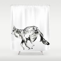 coyote Shower Curtains featuring COYOTE by ShelbyTaylor