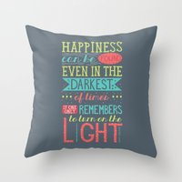 happiness Throw Pillows featuring Happiness by Dorothy Leigh