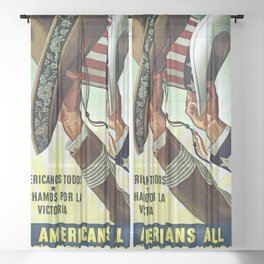 Americans All - Let's Fight for Victory Sheer Curtain