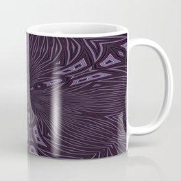 Pale Aubergine and Eggplant Abstract Pattern Kaleidescope Coffee Mug