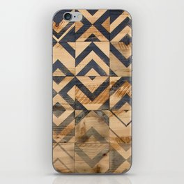 Chevron Scatter Black and Wood iPhone Skin