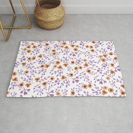 Prairie Flowers - Watercolor Floral Purple Copper Brown Rug