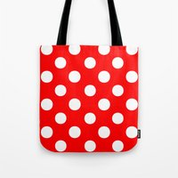polka dots Tote Bags featuring Polka Dots (White/Red) by 10813 Apparel
