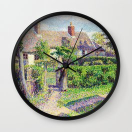 Camille Pissarro Peasants' houses, Eragny Wall Clock