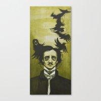 edgar allen poe Canvas Prints featuring Edgar Allen Poe by Meggy Stropki