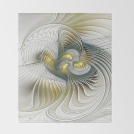 Noble And Golden, Abstract Modern Fractal Art Throw Blanket
