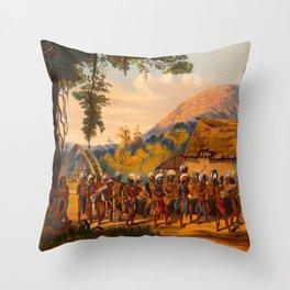 Caribi Village Anai Illustrations Of Guyana South America Natural Scenes Hand Drawn Throw Pillow