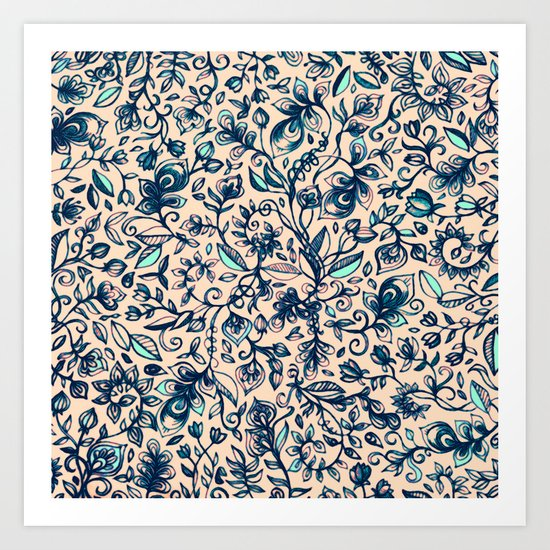 Teal Garden - floral doodle pattern in cream & navy blue Art Print