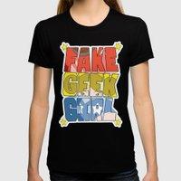 FAKE GEEK GIRL X-LARGE Black Womens Fitted Tee