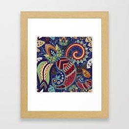 Colorful khohloma pattern Framed Art Print