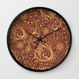 Dark Red Gold Pattern Wall Clock