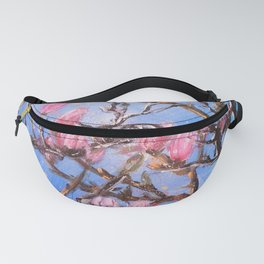 PINK MAGNOLIA - Original floral painting by HSIN LIN / HSIN LIN ART Fanny Pack