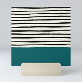 Dark Turquoise & Stripes Mini Art Print